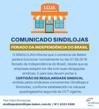 FERIADO DA INDEPENDÊNCIA DO BRASIL – 07 DE SETEMBRO DE 2018